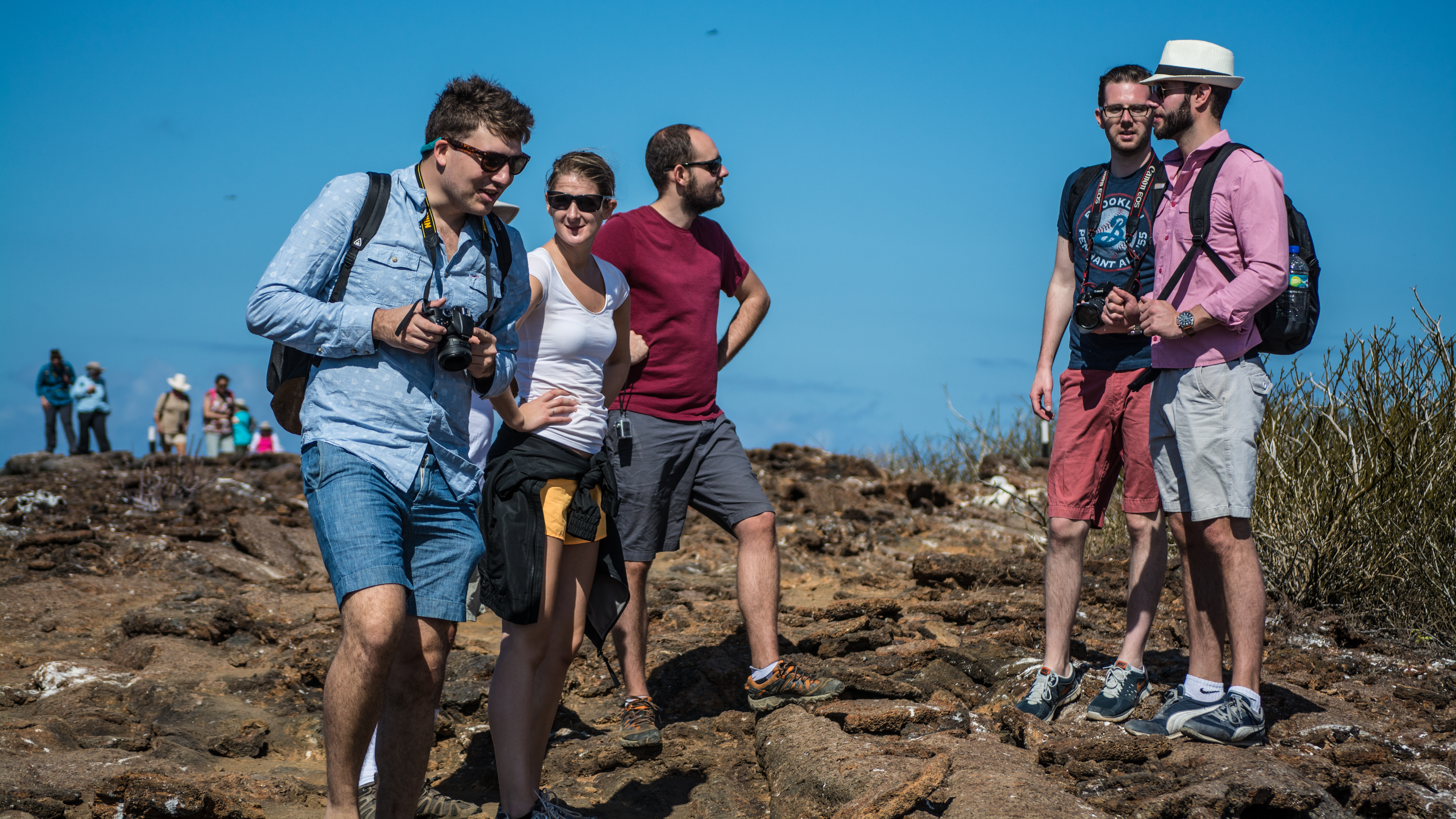 Ecoventura guests hiking in the Galapagos Islands